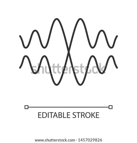 Sound, audio wave linear icon. Thin line illustration. Vibration, noise amplitude. Music rhythm frequency. Energy flow wavy lines. Contour symbol. Vector isolated outline drawing. Editable stroke
