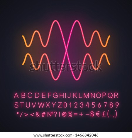 Sound, audio wave neon light icon. Vibration, noise amplitude. Music rhythm frequency. Radio signal. Energy flow wavy lines. Glowing sign with alphabet, numbers, symbols. Vector isolated illustration