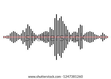 Sound / audio wave or soundwave line art for music apps and websites. Black and white vector illustration