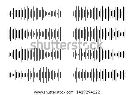 Sound / audio wave or soundwave line art for music apps and websites. Black and white vector illustration isolated on white background