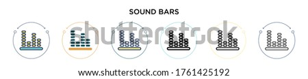 sound bars icon in filled  thin
