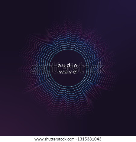 Sound circle wave. Abstract music ripple, audio amplitude waves flux vector background