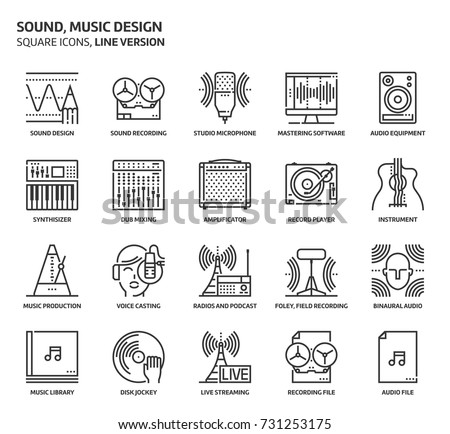 sound design  square icon set