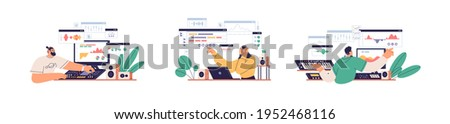Sound designers and audio engineers mixing, creating and recording music at workplaces with computers, professional equipment and software. Colored flat graphic vector illustration isolated on white