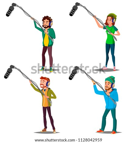 Sound Engineer Set Vector. Man, Woman. Journalist With Microphone. News, Film. Cinematography. Journalism Television. Audio Recording Process. Professional Videography Studio. Cartoon Illustration