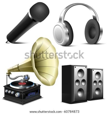 sound equipment vector icon set