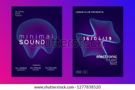 Sound flyer. Abstract discotheque invitation set. Dynamic gradient shape and line. Neon sound flyer. Electro dance music. Electronic fest event. Club dj poster. Techno trance party.