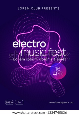 Sound flyer. Cool show invitation layout. Dynamic gradient shape and line. Neon sound flyer. Electro dance music. Electronic fest event. Club dj poster. Techno trance party.