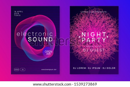 Sound flyer. Cool show magazine set. Dynamic fluid shape and line. Neon sound flyer. Electro dance music. Electronic fest event. Club dj poster. Techno trance party.