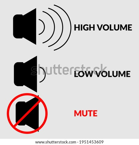 Sound high volume , low or mute control buttons icon set in vector illustrator. Set of media player button. Speaker, audio and sound mute line icon.    Сток-фото ©