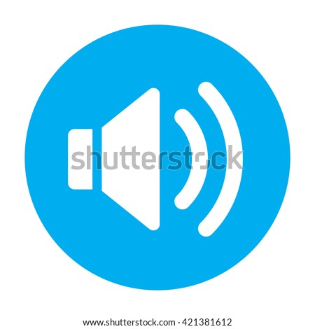 Sound Icon Flat volume sign symbol, blue music player sticker. For mobile media user interface
