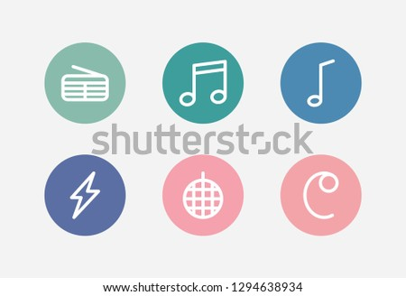 Sound icon set and common-time sign with quaver, disco ball and flash. Tune related sound icon vector for web UI logo design.