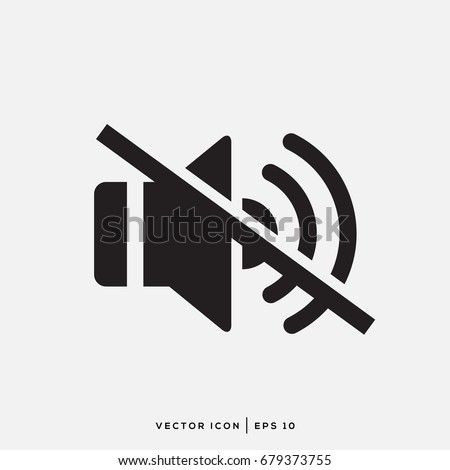 Sound Icon - Sound Off Icon Vector Design Flat Style Symbol, Mute Button Speaker Isolated On light Background