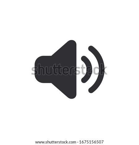 Sound icon. Voice icon. Music icon. Speaker icon. Megaphone. Sound pictogram. Musical note. Audio sign. Logo template. Ui elements. Sound button. Audio system. Noise.