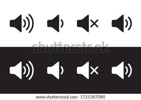 Sound icon, volume symbol, speaker sign, audio control icon set, black and white, vector illustration. Foto stock ©