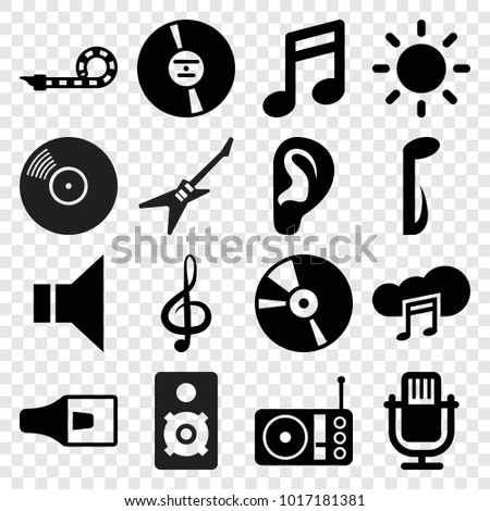 Sound icons. set of 16 editable filled sound icons such as note, microphone, treble clef, music note, megaphone, cd, radio, music cloud, party pipe, contrast, disc on fire