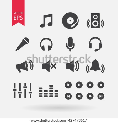 Sound icons set vector, Audio signs, buttons, elements Isolated on white background. Music, volume concept, Trendy Flat style for graphic design, logo, Web site, social media, UI, mobile app, EPS10