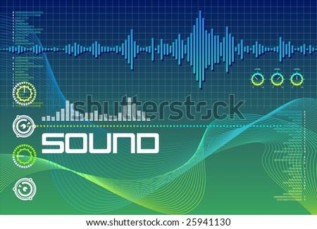 Sound Lab Seagreen - stock vector