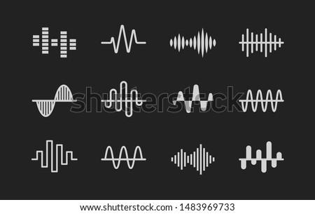 Sound logos. Set of Music, radio, cardio wave white icons, modern vector logo set on black background. Stock photo ©