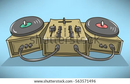 sound mixer and turntables