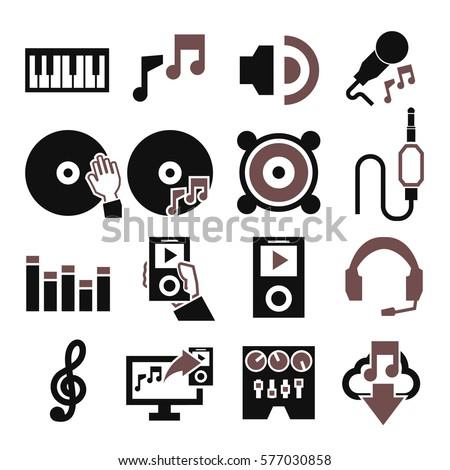 sound, music icon set