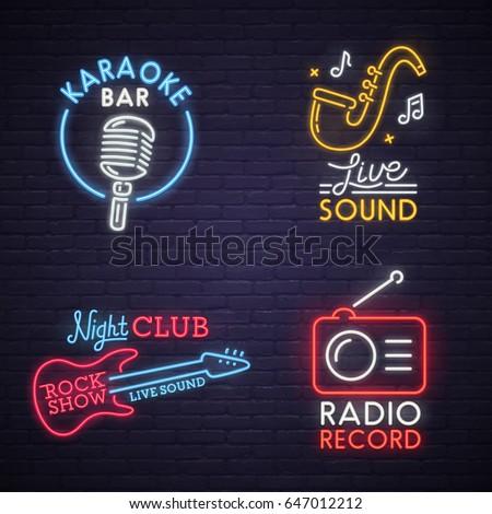 Sound neon sign. Karaoke neon sign. Rock Show neon sign. Radio neon sign, bright signboard, light banner. Logo, label, emblem.