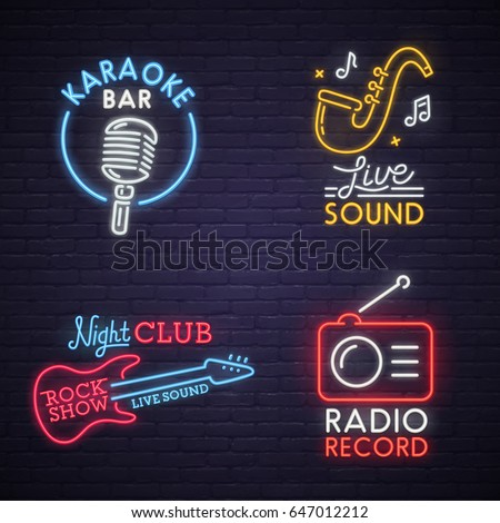 Sound neon sign. Karaoke neon sign. Rock Show. Radio, bright signboard, light banner. Logo, label, emblem.