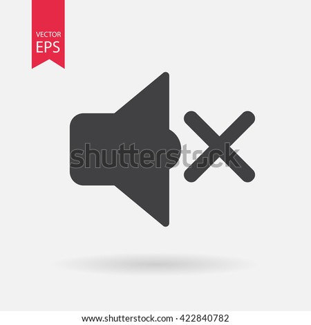 Sound on off icon vector, Volume, Mute button. Speaker sign Isolated on white background.  Audio waves. Flat style for graphic design, logo, Web site, social media, UI, mobile app, EPS