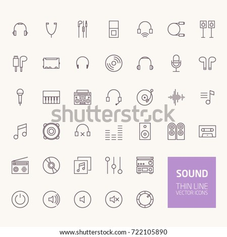 Sound Outline Icons for web and mobile apps