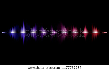 Sound radio wave background of soundtrack or sound diagram. Vector neon light graph of microphone sound equalizer pattern on black background