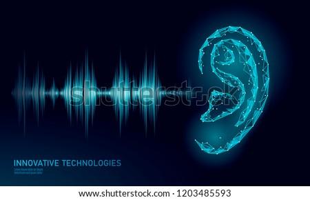 Sound recognition voice assistant low poly. Wireframe mesh polygonal 3D ear sound radio wave innovative technology waveform. Audio equalizer digital computer concept vector illustration