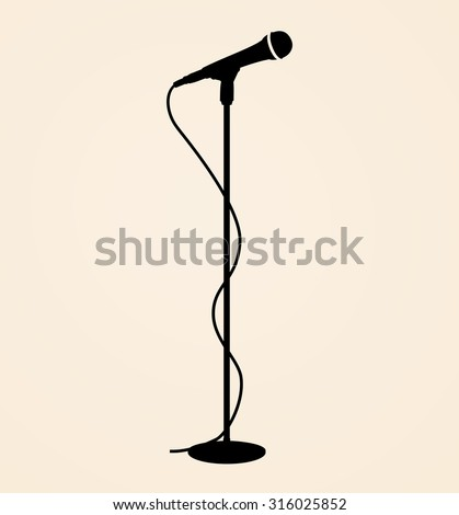 Sound recording equipment - black silhouette stage microphone, cable and stand - isolated standing on beige background, realistic style design, vector art image illustration, eps10
