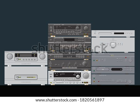 Sound shop. HiFi stereo audio components. Amplifier, receiver, CD-player, sound processor. Vector image for illustrations.