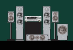 Sound shop. Quality components for quality sound. Acoustic system, amplifier, receiver, subwoofer, home theatre. Vector drawing for prints or illustrations.