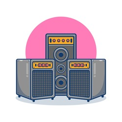 Sound System and speaker cartoon vector illustration. Music tool equipment concept. Flat cartoon style suitable for band, music, concert, artist