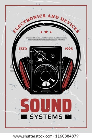 Sound systems retro poster for electronic audio devices and multimedia store or service shop. Vector vintage design of music compact disk or MP3 player and headphones