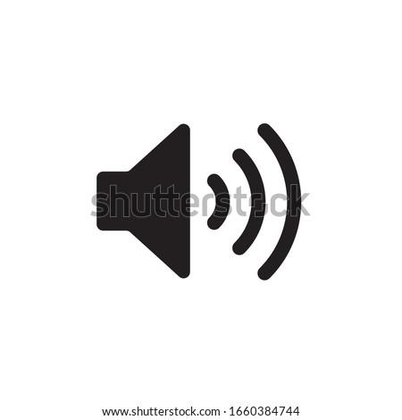 Sound vector icon. Black speaker pictogram, loud icon, flat audio button, noise symbol, volume logo, audio graphic element isolated on white background