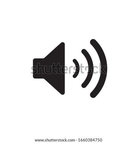 Sound vector icon. Black speaker pictogram, loud icon, flat audio button, noise symbol, volume logo, audio graphic element isolated on white background Photo stock ©