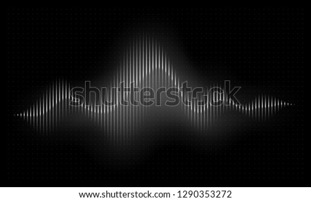 Sound wave. Abstract music pulse background. Audio voice rhythm radi wave, frequency spectrum vector illustration