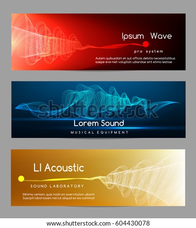 Sound wave banners. Digital abstract vibrant waveform lines energy cards vector illustration. Banner for sound studio record