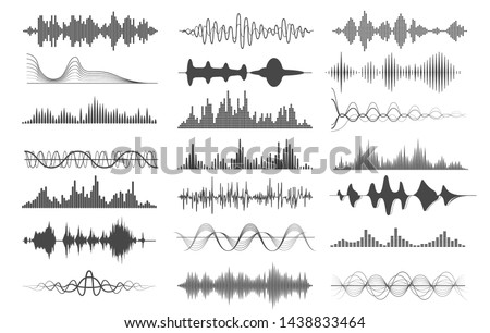 Sound wave charts. Voice and radio frequency waves graphs, playing illustrations or audio soundwave pulse signals isolated on white background, music curves