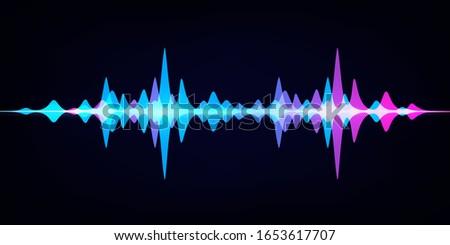 Sound wave equalizer. Modern audio spectrum. Abstract digital pulse wave. Vector waveform on dark background like soundtracks digital pattern Stock photo ©