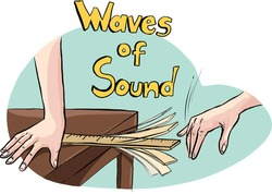 sound wave experiment with ruler, vector illustration