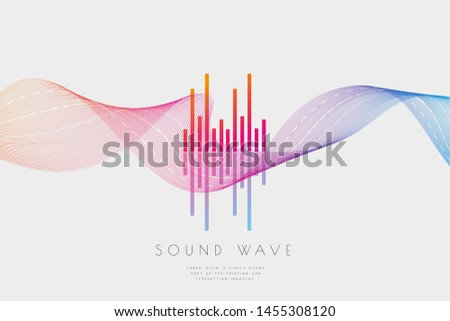 Sound wave from equalizer. Technology digital frequency on light gray backdrop with wave. Abstract electronic amplitude consist of lines elements. Vibration splash radio sound. Vector illustration