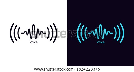 Sound wave icon for voice recognition in virtual assistant, speech signal. Abstract audio wave, voice command control, outline acoustic waveform. Vector element for mobile app with voice interface ストックフォト ©