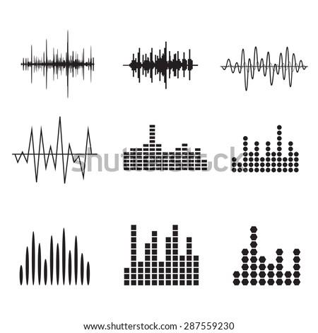 sound wave icon set equalize