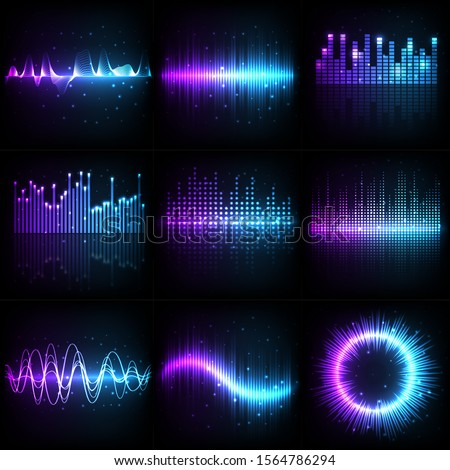 Sound wave, music audio equalizer with frequency pattern, vector different shapes. Abstract music sound wave of purple and blue neon light colors, electronic amplifier and beat record spectrum graphic