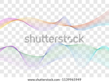 Sound wave, music waveform, line curve, line flow, abstract flow. Vector illustration