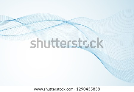 Sound wave, particles flow, effect in motion. dynamic vector abstract background. 3d shape dots blended mesh, future technology relaxing wallpaper.