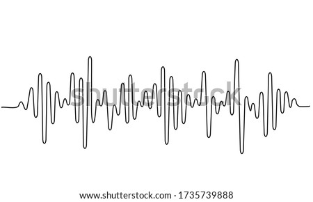 Sound wave shape with different amplitude. Continuous one line drawing. Vector illustration. ストックフォト ©